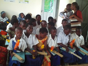 Some of the students who received books