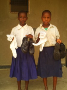 Two girls also received shoes