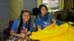 Diyah and Saida making their tie blankets