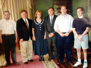 Bob following up with participants of the Western Ukraine Independent Media Development Program in Western Ukraine. June '95.