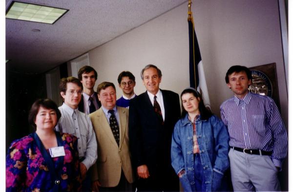 From left to right: Irina Kataeva, Alexei Kushnir, Andrei Zhukov, Bob Anderson, Mstislav Zakharov, Senator Tom Harkin, Elena Batouyeva and Alexander Scripov