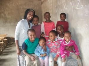 Eshpa Mollel volunteering at an orphanage