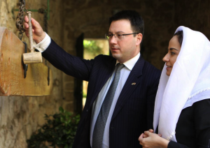Former IRIS participant, Ambassador Archil Kekelia, with Minister Vera Kobalia of the Georgian Ministry of Economy and Sustainable Development visiting the Holy Cross Monastery in Jerusalem.