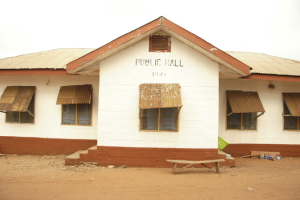 The main entrance to the health center.