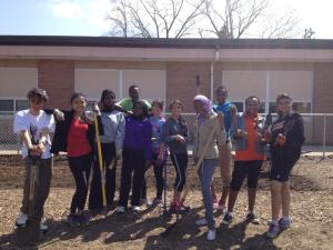 The YES students admire their hard work during Global Youth Service Day.