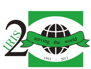 This logo celebrates IRIS serving the world for 20 years.