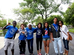 A group photo with some of the YES students and Public Relations intern, Desirae Trammell.