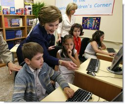 Laura Bush at the inauguration of the America Children's Corner in Sofia, Bulgaria.